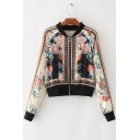 Vintage Floral Printed Contrast Collar Long Sleeve Zip Fly Jacket