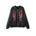 Floral Embroidered Stand Up Collar Long Sleeve Baseball Jacket