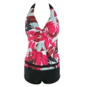Women's Floral Printed Halter V-Neck Color Block Tankinis