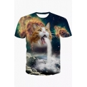 Stylish Digital Cartoon Cat Printed Round Neck Short Sleeve T-Shirt