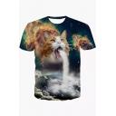 Stylish Digital Cartoon Cat Printed Round Neck Short Sleeve T-Shirt