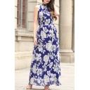 Halter Neck Sleeveless Floral Printed Boho Style Chiffon Maxi Dress