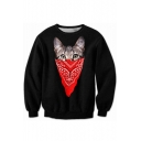 Cartoon Cat Pattern Round Neck Long Sleeve Fashion Sweatshirt