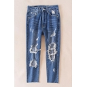 New Fashion Cut Out Ripped High Waist Leisure Jeans
