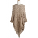 New Arrival Round Neck Plain Diamond Texture Tassel Hem Tunic Cape Sweater