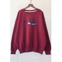 Loose Shark Letter Pattern Long Sleeve Round Neck Pullover Sweatshirt