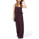 Hot Fashion Color Block Plaids Printed Chiffon Maxi Holiday Slip Dress