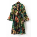 Foliage Printed Lapel Collar Flared Sleeve Buttons Down Midi A-Line Dress