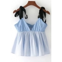 Women's Contrast Straps Sleeveless Striped Cropped Blouse
