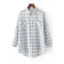 Color Block Plaid Lapel Long Sleeve High Low Hem Single Breasted Shirt