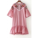 Floral Embroidered Striped Printed Round Neck Half Sleeve Ruffle Hem Mini Dress