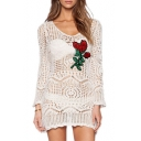 Fashion Embroidery Floral Pattern Hollow Out Long Sleeve Knitted Cover Ups