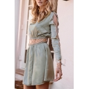 New Arrival Chic Hollow Out Long Sleeve Cut Out Waist Plain A-Line Mini Dress