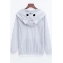 Lovely Cartoon Printed Hooded Long Sleeve Zip Placket Sun Protection Coat