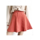 Fashion Summer Zip Front Plain Mini Skirt with Buttons