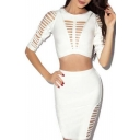 Sexy Cutout Striped Half Sleeve Cropped T-Shirt with Midi Bodycon Skirt Plain Co-Ords