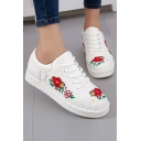 Fashion Floral Embroidery Pattern Round Toe  Tied Flat Shoes