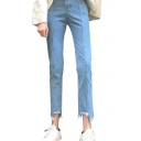 Women's Asymmetric Broken Cuffs High Waist Plain Skinny Jeans