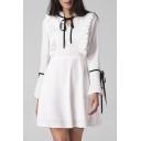 Ruffle Hem V Neck Long Sleeve Bow Design Mini Plain A-Line Dress