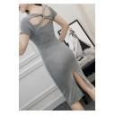 Twisted Hollow Back Split Back V Neck Short Sleeve Plain Midi Bodycon Dress