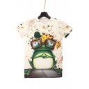 Funny Cartoon Frog Printed Round Neck Short Sleeve Graphic Tee