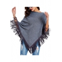 New Fashion Plain Asymmetrical Tassel Hem Pullover Cape Knit Coat