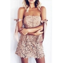 New Arrival Chic Lace Inserted Bow Sleeve Plain Mini Bandeau Dress