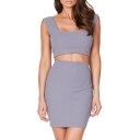 Hot Fashion Sexy Plain Square Neck Sleeveless Cropped Top with Mini Pencil Skirt