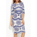 New Fashion Porcelain Printed Round Neck Half Sleeve Midi Pencil Dress