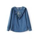 New Stylish Ruffle Embroidery Pattern Zip Back Long Sleeve Denim Blouse