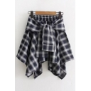 Elastic Waist Tie Front Plaids Striped Printed Mini Asymmetrical Skirt
