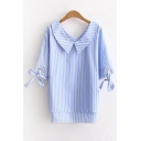 Peter-Pan Collar Bow Tie Cuff Striped Printed High Low Hem Pullover Blouse