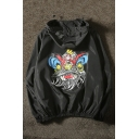 Cartoon Lion Printed Long Sleeve Hooded Zip Placket Unisex Sports Coat