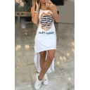 Women's High Low Hem Boat Anchor Printed Sleeveless Scoop Neck Asymmetric Tank Dress