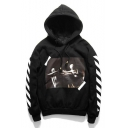 Striped Printed Long Sleeve Fashion Loose Leisure Unisex Hoodie