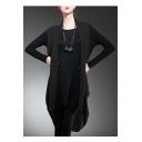 New Stylish Loose Long Sleeve Round Neck Plain False Two-Pieces Asymmetric Dress