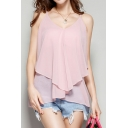 Women's Fashion Spaghetti Straps Ruffle Sleeveless Plain Chiffon Cami Tank