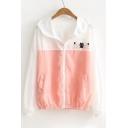 Cute Cartoon Cat Pattern Color Block Long Sleeve Hooded Zip Up Coat