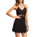Hollow Out Waist Lace Patchwork Spaghetti Straps Sleeveless Plain Mini Cami Dress