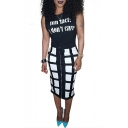 Letter Printed Sleeveless Round Neck Tee with Zipper Front Plaid Midi Skirt Co-Ords