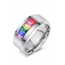 Unisex Fashion Square Colorful Insert Crystal Titanium Steel Ring