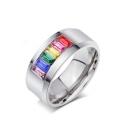Unisex Fashion Square Colorful Insert Crystal Titanium Steel Ring