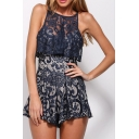 Sexy Lace Inserted Spaghetti Straps Ruffle Hem Zip Back Plain Rompers