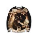 Stylish Fashion Cartoon Cool Cat Printed Round Neck Long Sleeve Pullover Sweatshirt
