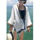 Leisure Tribal Contrast Trim 3/4 Length Sleeve Open Front Kimonos