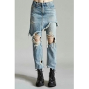 New Stylish Ripped Broken Plain False Two Pieces Jeans