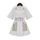 Lapel Collar Short Sleeve Tribal Embroidered A-Line Mini Dress with Belt