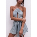 Halter Neck Open Back Bow Waist Sexy Hollow Out Plain Rompers