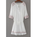 Embroidery Pattern Round Neck 3/4 Length Sleeve Ruched Front Mini A-Line Dress with One Cami Inside