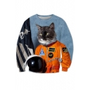 New Arrival Cool Cartoon Soldier Cat Printed Round Neck Long Sleeve Sweatshirt